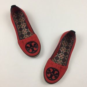 TORY BURCH Red & Navy Blue Logo Canvas Sneakers
